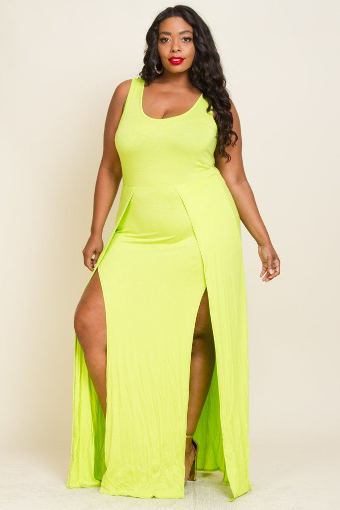 Plus size double slit jersey maxi casual dress in 2019 ...