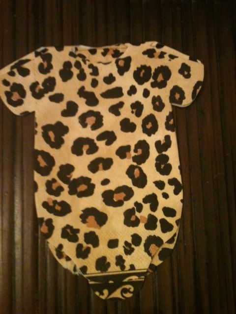 Leopard Print Baby Onesies Napkins For Baby Showers!