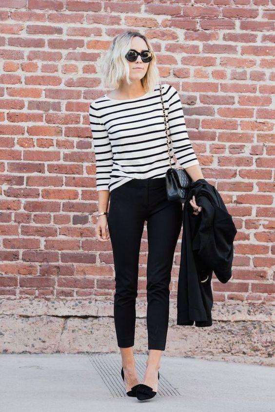Blusa listrada, calça cropped, look preto e branco, black and white