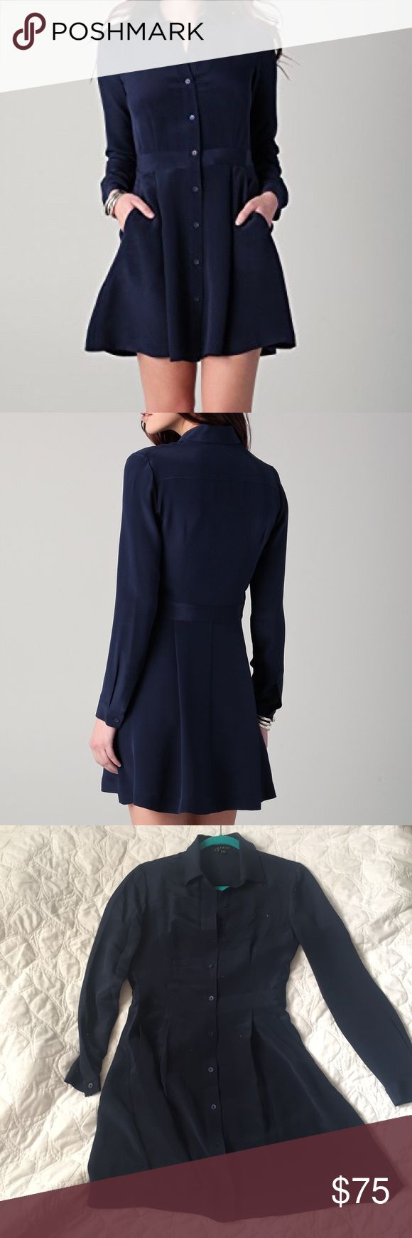 Theory navy blue silk shirt dress Classic Theory Soream - Glowing' A-Line Silk Shirtdress in navy blue size 2. Great condition, just needs a steam. Has pockets and a pleated a-line cut. Great for most occasions, versatile work piece.  Measurements  Waist: 14 in lying flat Length: 32 in from shoulder to hem Theory Dresses Long Sleeve