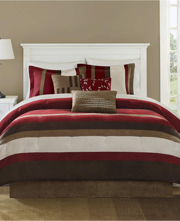 Madison Park Boulder Stripe 7 Pc Faux Suede California King Comforter Set Bedding Comforter Sets Comforters Bed Comforters