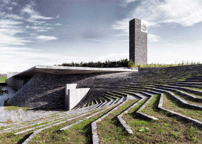 5osA: [오사] :: *자연과의 동화, 터키 모스크 사원 [ Emre Arolat Architects ] Terraced landscaping surrounds concrete and stone structure of Mosque