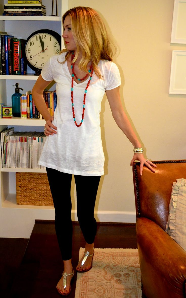 Need long casual tees like this?  Try CAbi Spring '13 Scoop Neck Tee...cute outfit and leggings