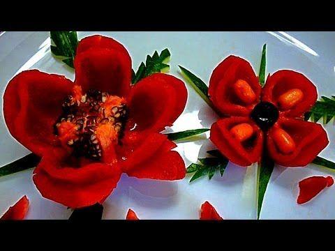 Цветы из перца! Карвинг перца! Flowers of pepper! Carving pepper!
