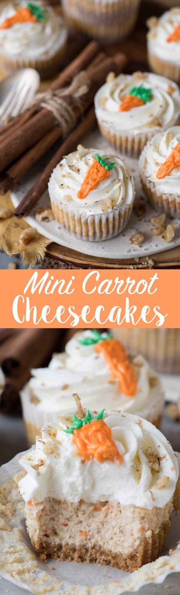 Mini Carrot Cheesecakes made in a muffin pan!