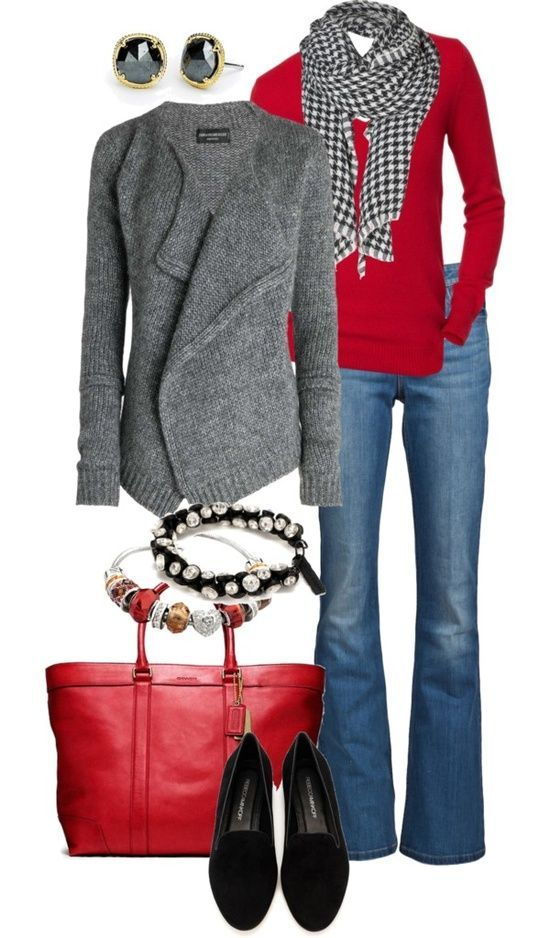 Black, Red, and Gray Fall Fashion Trend in Clothing & Accessories. Houndstooth black & white scarf on red sweater. Oversized red leather purse & double breasted gray sweater overcoat. Best fall fashion trend.