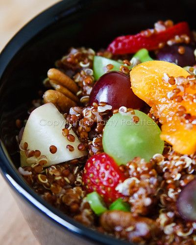 Tasty Palettes: Quinoa And Summer Fruit Salad: Quinoa 1 c Fruits  2-3 c, cubed (red nectarines, apricots, strawberries, red grapes, green grapes. Apples, any berries or any stone fruits can also be used) Pecans or walnuts ½ c, roasted and chopped Scallion 1 chopped, green only Juice & zest of a large lemon Honey 1 T Olive oil 1T Salt; Whisk dressing until blended. Cook quinoa. Toss quinoa with dressing, nuts, fruits and scallions.