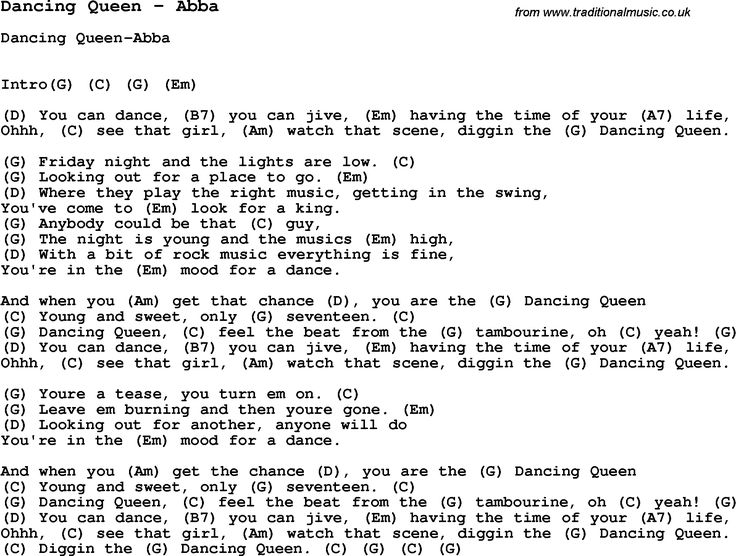 Song Dancing Queen by Abba, with lyrics for vocal performance and accompaniment chords for Ukulele, Guitar Banjo etc.