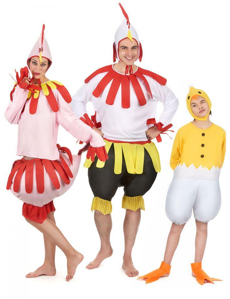 Disfraz de familia gallo, gallina y pollito: Disfraz gallina adultoEstedisfrazdepollopara adulto incluye camiseta, pantalón y gorro.Lacamisetaes de manga larga y color rosa conflecosrojos y...