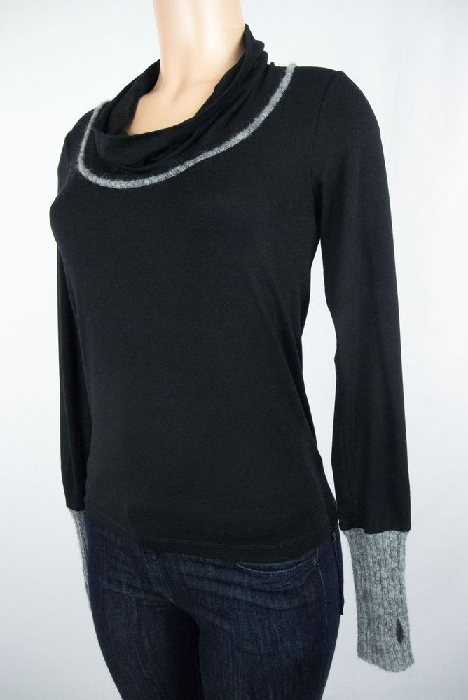 COP COPINE Knit Top Size 1 S Black Gray Combo Knit Sweater Sleeeves #CopCopine #KnitTop #Casual