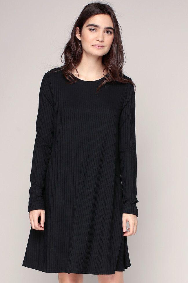 Robe oversize côtelée noire 1