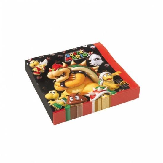 Super Mario servetjes 20 stuks  Super Mario servetten 20 stuks. Deze Super Mario thema servetten met de afbeelding van alle vijanden van Mario zijn gemaakt van papier en het formaat is 33 x 33 cm.  EUR 3.95  Meer informatie