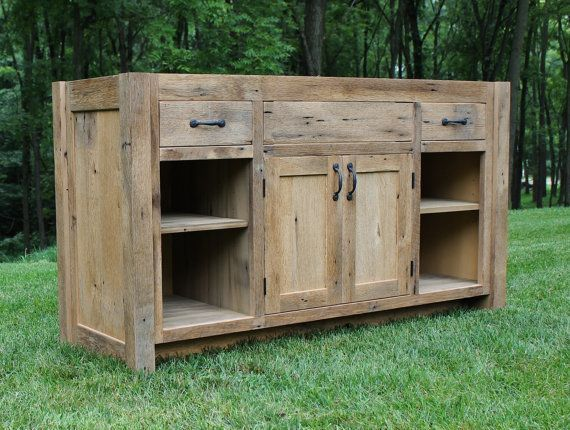 Rustic Vanity 60 Reclaimed Barn Wood w/Paneled Doors. For a single vanity if needed smaller would have Cabinet and open shelving.