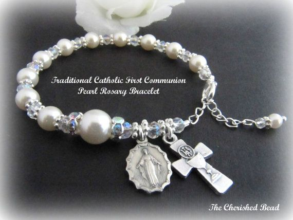 Traditional Catholic First Communion Rosary Bracelet with Swarovski Pearls, Crystals and Rhinestones on Etsy, $25.00