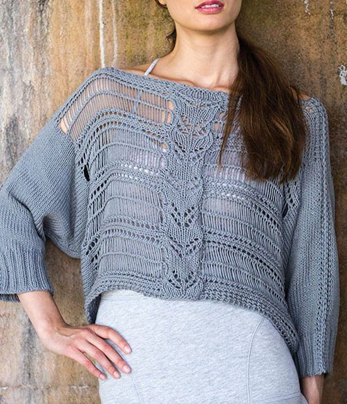 "Knitting Pattern for Burkina Top - I think this may go on my knitting bucket list. Exquisite pullover top designed by Norah Gaughan featuring a central lace panel on a background of dropped stitches. To fit bust sizes 30(34-38-42-46-50-54)"". One of the patterns in Berroco: Norah Gaughan Vol 16"
