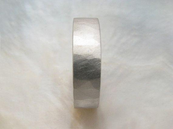 handmade platinum wedding band  6mm wide textured by RavensRefuge, $2370.00
