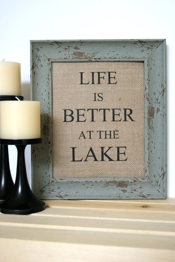 Life is Better At The Lake / Burlap Art Print by FarmToFrontPorch, $16.00