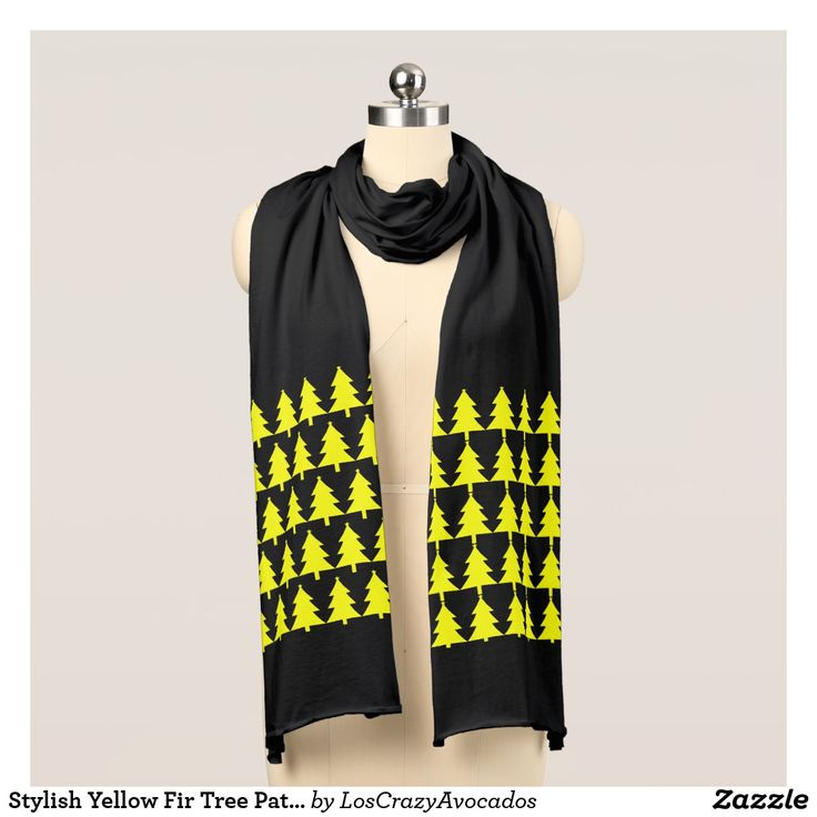 Stylish Yellow Fir Tree Pattern Jersey Scarf
