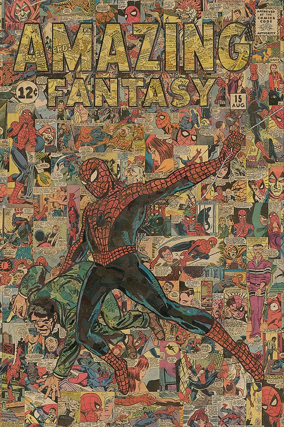 Hey I found this really awesome Etsy listing at http://www.etsy.com/listing/160314913/24x36-spider-man-comic-collage-giclee. I like this so much !!!!!