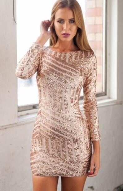 Newest Sequined Long-Sleeve Homecoming Dress,Open Back Party Dresses,Rose Gold Short Dress