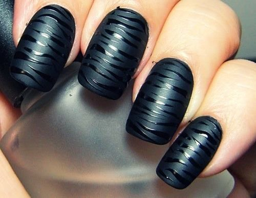 black on black zebra mani.