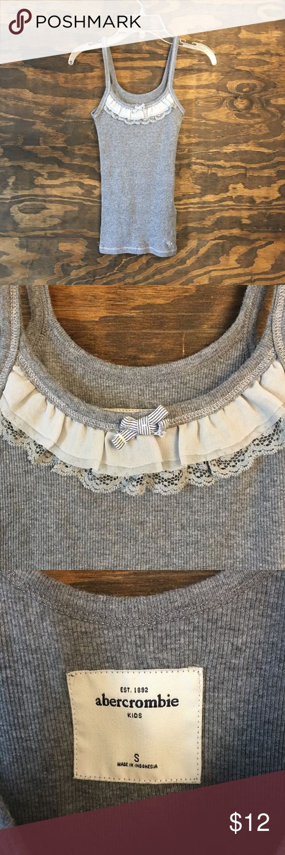Abercrombie Girls Gray Tank Size Small Abercrombie & Fitch Gray Tank w/ White Lace Trim Abercrombie & Fitch Shirts & Tops Tank Tops