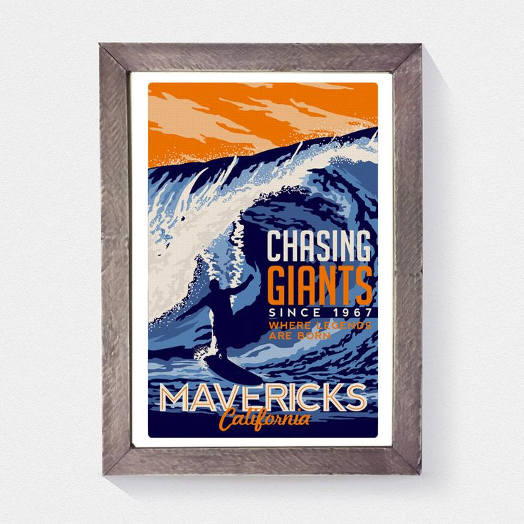 """this is 100% original artwork Surfing Travel poster Mavericks california vintage retro hand screen printed 3 color design. • ARTWORK SIZE IS 12""""X18"""" • PRINTED ON WHITE HEAVY COLD PRESSED ARTBOARD (VERY THICK) • LIMITED RUN OF 50 PRINTS SIGNED AND NUMBERED!  *Watermark does not appear on actual print.*NEED IT FRAMED?  check out our real beach wood frames!  http://retroscreenprints.com/products/custom-real-beach-wood-frame"""