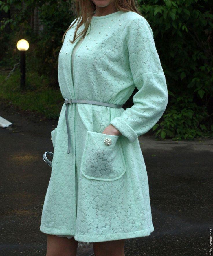 Купить Пальто летнее из ажурной ткани, дублированной кружевом - однотонный, пальто, пальто летнее, плащ