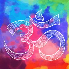 Hand drawn Ohm symbol, indian Diwali spiritual sign Om with high