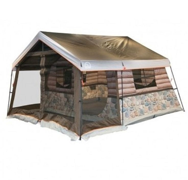 Log Cabin Tent 8 Person Family Lodge Camping Shelter Screen Porch Hunting Trip | eBay