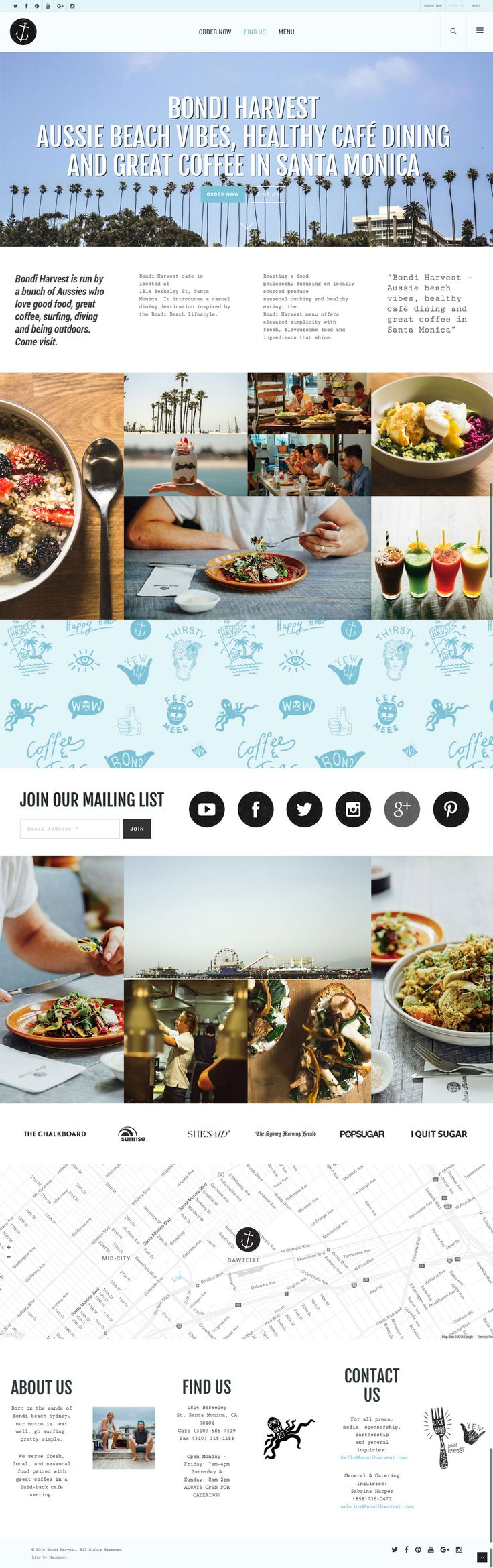 Bondi Harvest Santa Monica Cafe website (website # 2) by KORE (http://kore.digital/). The home of food porn. US site.