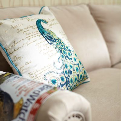 Decorative Jeweled Pillows : Scripted Jeweled Peacock Pillow PEACOCK linens pillows Pinterest Peacocks, Peacock pillow ...