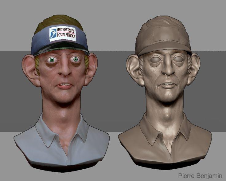 Men in Black character postman brush sculpt, Pierre Benjamin on ArtStation at https://www.artstation.com/artwork/Pmr0B