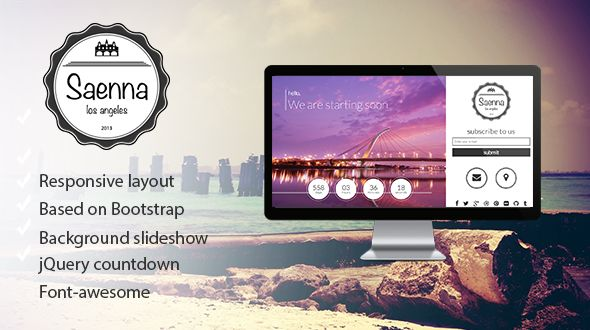 See More Saenna - Responsive Coming Soon Templatetoday price drop and special promotion. Get The best buy