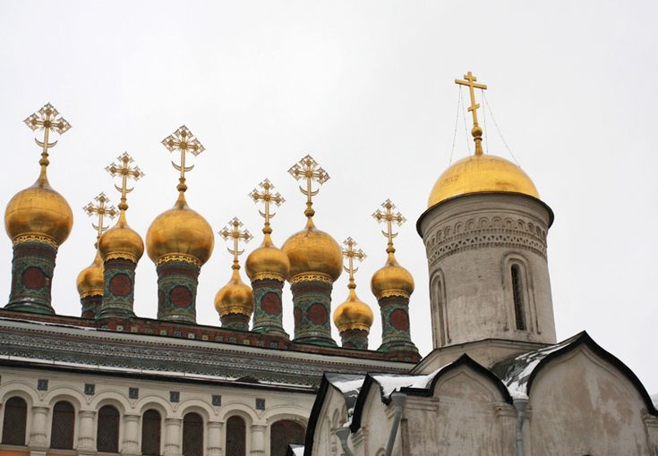 Details of The Church of Laying Our Lady's Holy Robe inside the Kremlin, Moscow