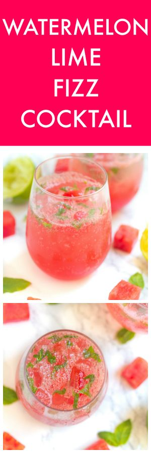 Watermelon Lime Fizz Cocktail or Mocktail