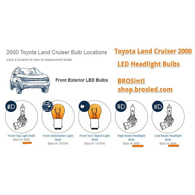 #Toyota #Land #Cruiser 2000 lights model keep it for future car lights replacement for your 2000 land cruiser.  Lovers upgrade your #car #halogen #bulb to #LED #Headlight #Bulbs high #beam #9005 low beam #9006 #fog #lamp 9006