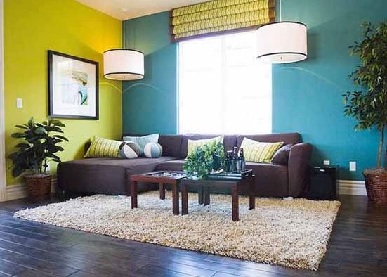 Blue Lime Green And Deep Brown Colour Scheme Living RoomsLiving