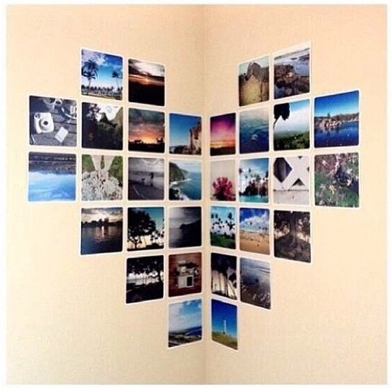 Heart pictures: I did this in my room however i used 4x6s & 6x4s and 8 layers of pics instead of 6 Love It!
