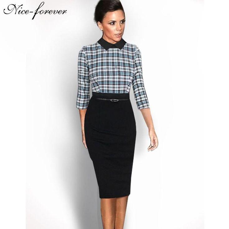 Nice-forever Elegant 3/4 Sleeve Vintage Office dress Patchwork Green Plaid  Turn-