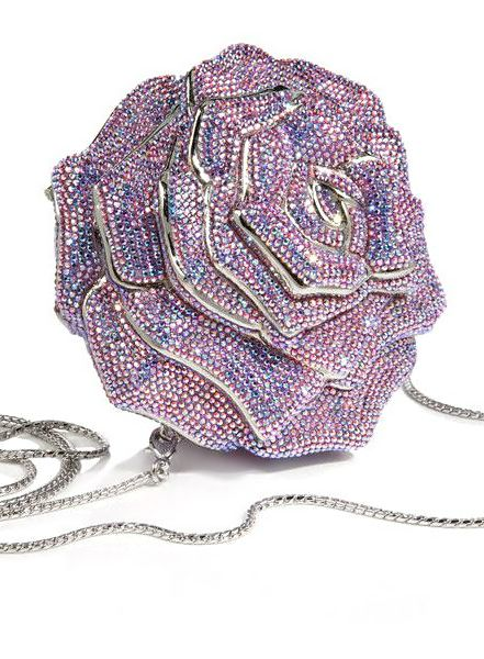 Judith Leiber classic evening jewelry purse. I have mine. Very similar to this one only the flower is multi colored and the back side is all clear crystals.