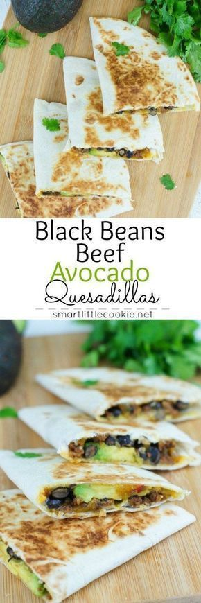 20-Minute Meal Idea - Black Beans Beef and Avocado Quesadillas Recipe by SmartLittleCookie.net