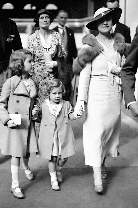 The Queen Mother with her daughters Margaret & Elizabeth