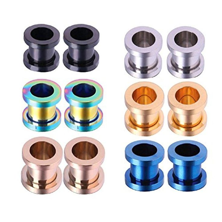 BodyJ4You Plug Kit Stainless Steel Screw Fit Ear Gauges Tunnel Expander 4G (5mm) Set 12PCS