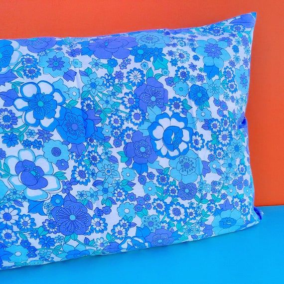 New 70s Prova pillowcase flower power pillow case cover slip unused new pink salmon psychedelic Mod daisy floral NOS unused
