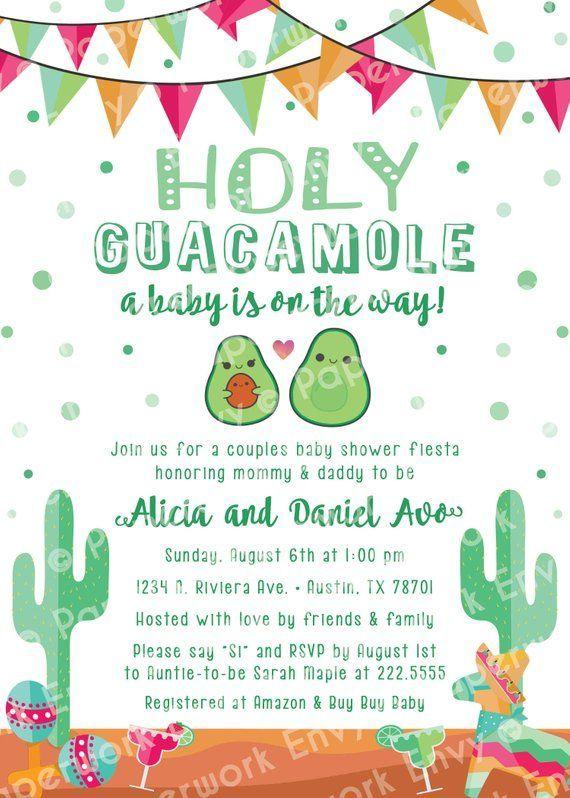 Holy Guacamole Mexican Fiesta Theme Baby Shower Invitation Avocado