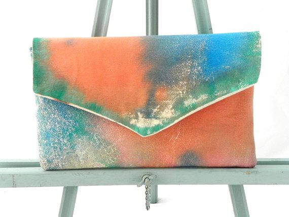 hand painted clutch envelope clutch bohemian by MyALaModeBoutique