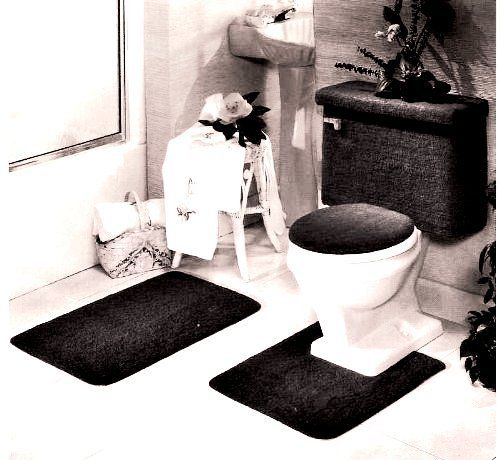5 piece black bathroom rug set includes area rug contour rug lid cover - Rug Sets
