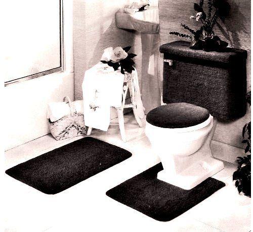 5 black bathroom rug set includes area rug contour