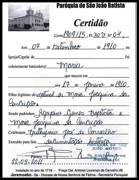 Certidão de Batismo de Maria Bonita